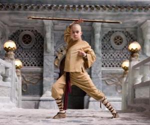 Puzle O avatar Aang é o principal protagonista da aventura e seu destino é dominar os quatro elementos: Ar, Água, Terra e Fogo
