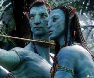 Puzle O avatar na'vi de Jake e Neytiri prontos para lançar uma seta