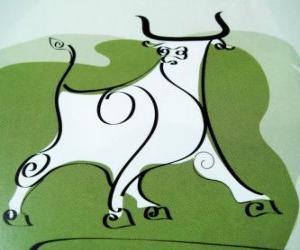 Puzle O Boi, o sinal do Boi, o Ano do Boi. O segundo animal do zodíaco chinês