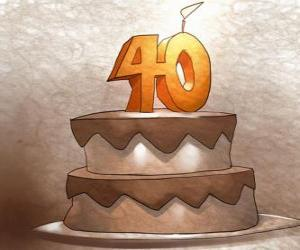 Puzle O bolo de aniversário para comemorar 40 anos