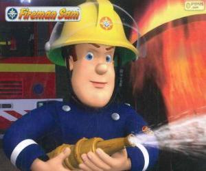 Puzle O bombeiro Sam com a mangueira
