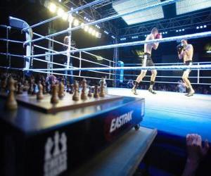 Puzle O boxe xadrez é um esporte híbrido que combina xadrez e boxe.