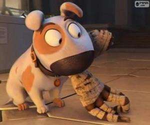 Puzle O cão Jeff com o braço de uma múmia na boca
