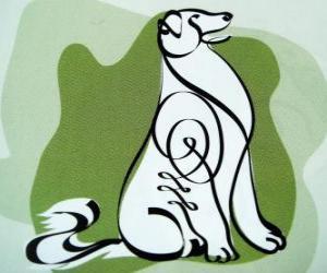 Puzle O cão, o signo do Cão, o Ano do Cão na astrologia chinesa. O penúltimo dos doze animais do zodíaco chinês