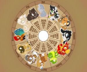 Puzle O círculo com os sinais dos doze animais do zodíaco ou horóscopo chinês