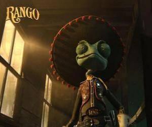 Puzle O camaleão Rango acredita-se que um herói e auto-proclamado xerife de Dirt