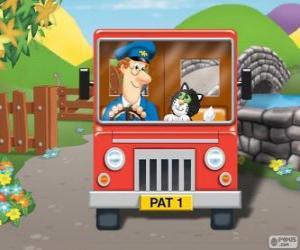 Puzle O Carteiro Paulo com seu gato Jess na distribuição do correio