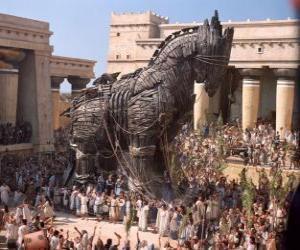Puzle O Cavalo de Tróia, um gigante cavalo oco de madeira