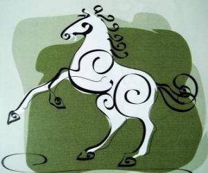 Puzle O cavalo, o signo do Cavalo, Ano do Cavalo na astrologia chinesa. O sétimo animal do zodíaco chinês