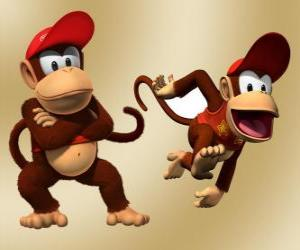 Puzle O chimpanzé Diddy Kong, personagem do vídeo game Donkey Kong