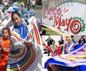 Puzle O Cinco de Mayo é celebrada em 05 de maio no México e os Estados Unidos para comemorar a Batalha de Puebla 1862