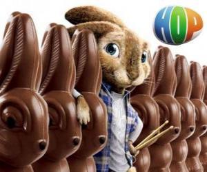 Puzle O coelho EB deve suceder seu pai como o coelhinho da Páscoa. Hop