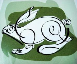 Puzle O coelho, o sinal de coelho, o Ano do Coelho. O quarto animal no horóscopo chinês