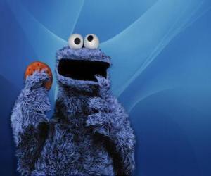 Puzle O Come-Come ou o Monstro das Bolachas comendo uma cookie
