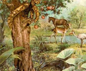 Puzle O Diabo como uma serpente na Árvore do Ciência do Bem e do Mal