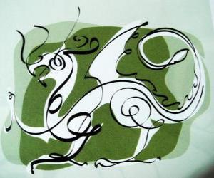 Puzle O dragão, o signo do Dragão, o Ano do Dragão. qunito animal do zodíaco chinês