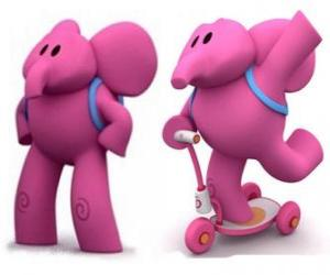 Puzle O elefante amigável Elly é o mais forte e sempre ajuda seus amigos