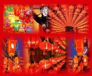 Puzle O Festival das Lanternas é o fim das celebrações do Ano Novo Chinês. Bonitas lanternas de papel