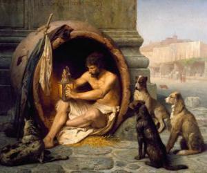 Puzle O filósofo grego Diógenes de Sinope, no seu barril, nas ruas de Atenas