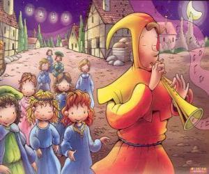 Puzle O Flautista de Hamelin misteriosamente com todas as crianças da cidade atrás do som da flauta