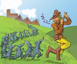 Puzle O Flautista de Hamelin tocando flauta, seguida por ratos
