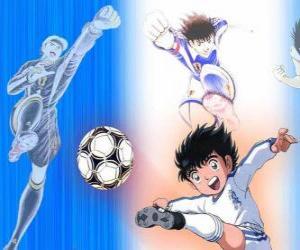 Puzle O futebolista Oliver e seu amigo Benji que joga como goleiro