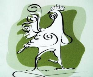 Puzle O galo, o símbolo do Galo, o Ano do Galo na astrologia chinesa. O décimo animal do horóscopo chinês