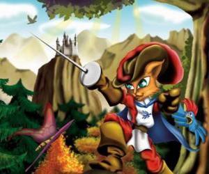 Puzle O Gato de Botas ou o Gato das Botas com a espada erguida