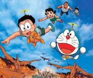 Puzle O gato Doraemon com seus amigos Nobita, Shizuka, Suneo e Takeshi