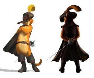 Puzle O Gato elegante, com uma espada em seu cinto, chapéu casaco e botas