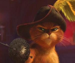 Puzle O Gato elegante, com uma espada