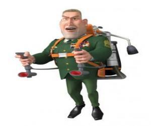 Puzle O Geral W. R. Monger fazendo a saudação militar