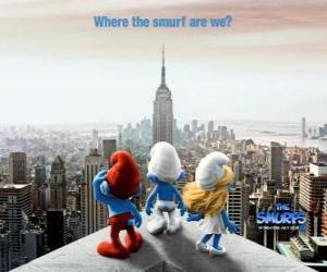 Puzle O grupo dos Smurfs, Smurfs saber onde estamos. - Os Smurfs, filme -