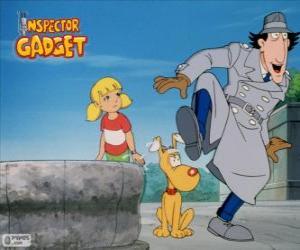 Puzle O Inspector Bugiganga com sua sobrinha Penny e seu cão
