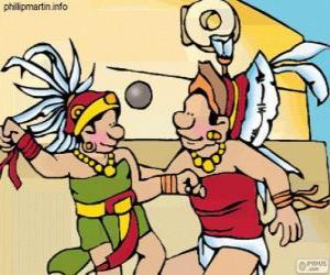 Puzle O jogo de bola maia era um ritual, os jogadores lutam para passar a bola pelo anel de pedra