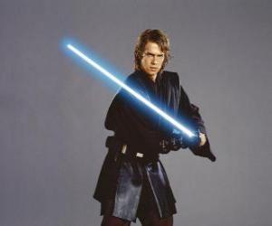 Puzle O jovem Anakin Skywalker com seu sabre de luz