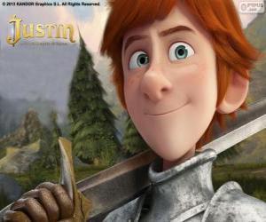 Puzle O jovem Justin quer se tornar um cavaleiro