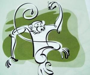 Puzle O macaco, sinal do macaco, o ano do Macaco na astrologia chinesa. O nono dos doze animais do ciclo de 12 anos do zodíaco chinês