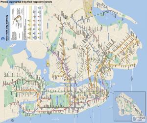 Puzle O mapa do metrô de Nova York