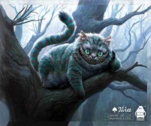 Puzle O Mestre Gato ou o Gato de Cheshire repousando sobre um galho de árvore
