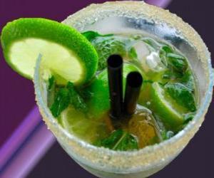 Puzle O mojito cocktail popular é natural de Cuba, feita de rum, açúcar (ou xarope de açúcar), hortelã, limão ou hortelã e água com gás.