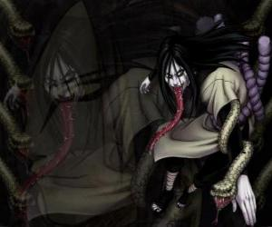 Puzle O ninja Orochimaru com cobras, como parte de seu corpo depois de várias modificações