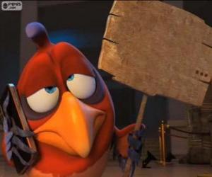 Puzle O papagaio mudo Belzoni com uma prancha que usa para escrever e comunicar