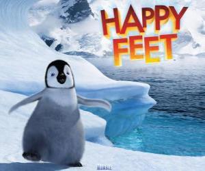 Puzle O pequeno pingüim imperador, protagonista de Happy Feet