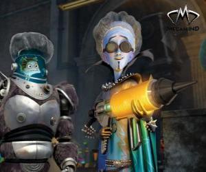 Puzle O personagem principal, o malvado alienígena Megamind ou Megamente com Criado ou Minion, o peixe sábio