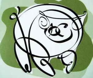 Puzle O porco, signo do Porco, o ano do Porco na astrologia chinesa. O último dos doze animais do zodíaco chinês