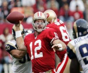 Puzle O quarterback em ação, pronto para tentar um passe