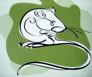 Puzle O rato, o signo do Rato, o Ano do Rato. O primeiro sinal dos doze animais do horóscopo chinês