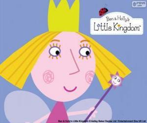 Puzle O rosto da pequena fada, a princesa Holly com a coroa