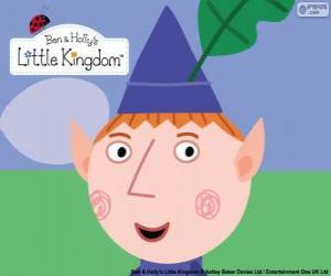 Puzle O rosto do elfo Ben e seu chapéu triangular com a folha de carvalho
